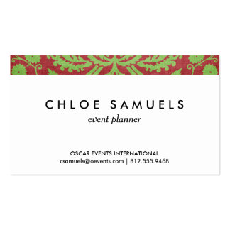 Pink Red & Green Damask Shabby Chic Pack Of Standard Business Cards