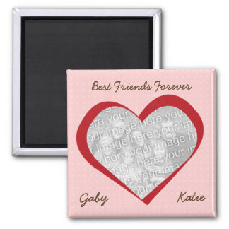 Pink red heart dots love custom photo best friends square magnet