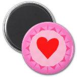pink red heart fridge magnet