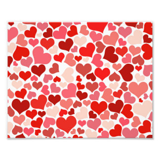 Pink Red Hearts Pattern Valentine's Day Love Photo Print