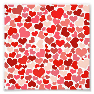 Pink Red Hearts Pattern Valentine's Day Love Photograph
