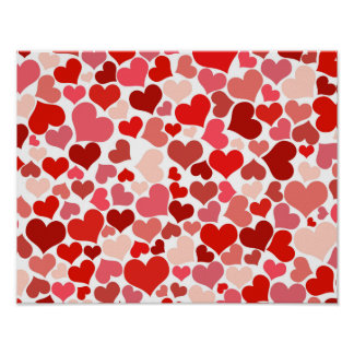 Pink Red Hearts Pattern Valentine's Day Love Poster