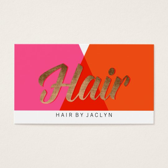 Pink Red Orange Gold Colour Block Retro Chic Hair Business Card