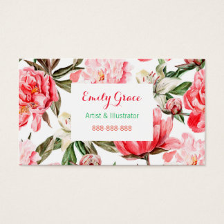 Pink Red Peonies Watercolor Flowers Floral Business Card