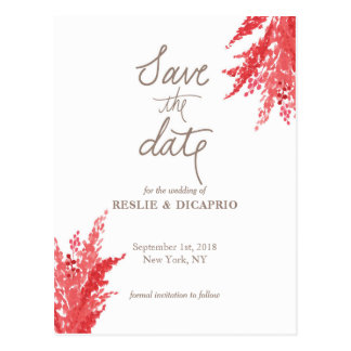 'pink & red posies' Save the Date Postcard