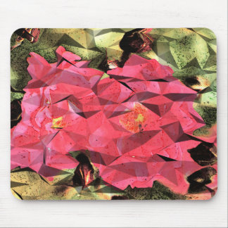 Pink Red Roses Abstract Cubist Futurist Mouse Mat