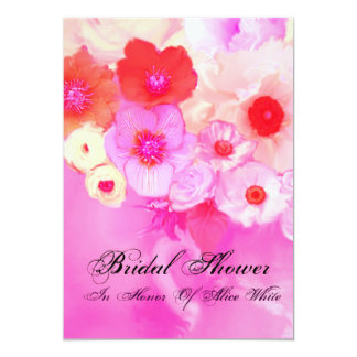PINK RED  ROSES AND ANEMONE FLOWERS BRIDAL SHOWER INVITATION
