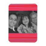 Pink Red Striped Photo frame Flexible Magnets