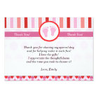 Pink Red Stripes Baby Girl Shower Thank You Card