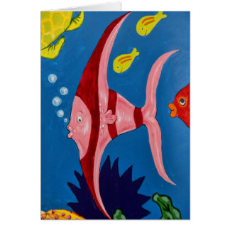 Pink & Red Tropical Fish Card