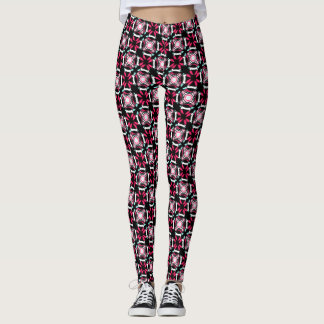 Pink Red Turquoise on Black Block Print Legging