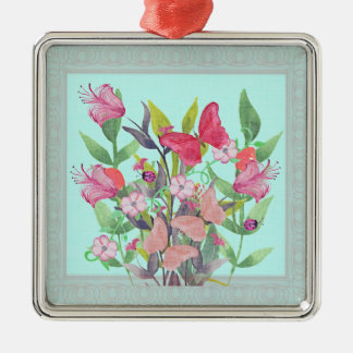Pink & Red Watercolor Flowers & Butterflies Christmas Ornament