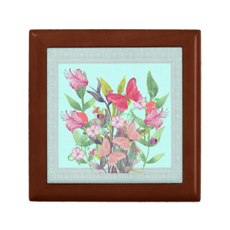 Pink & Red Watercolor Flowers & Butterflies Gift Box