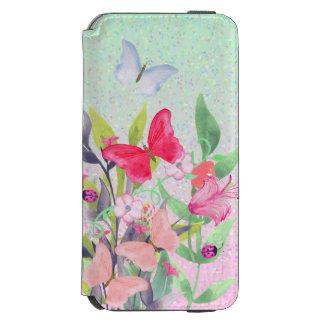 Pink & Red Watercolor Flowers & Butterflies Incipio Watson™ iPhone 6 Wallet Case