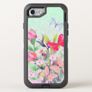 Pink & Red Watercolor Flowers & Butterflies OtterBox Defender iPhone 8/7 Case