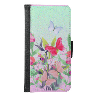 Pink & Red Watercolor Flowers & Butterflies Samsung Galaxy S6 Wallet Case