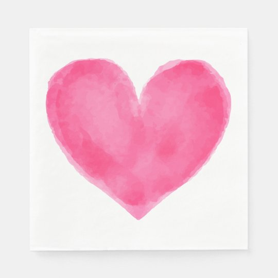 Pink Red Watercolor Heart - Wedding Party Love