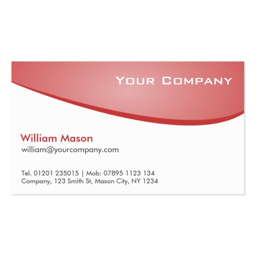 Pink Red White Curved Professional Business Card