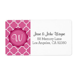 Pink Red White Modern Quatrefoil Monogram Label Shipping Label