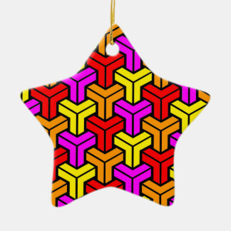 Pink, Red, Yellow, Orange Geometric Pattern Christmas Ornament
