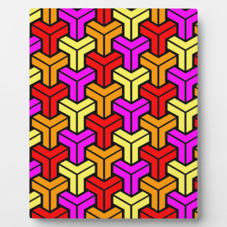 Pink, Red, Yellow, Orange Geometric Pattern Plaque