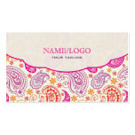 Pink Red & Yellow Paisley Pattern Design Business Card Templates