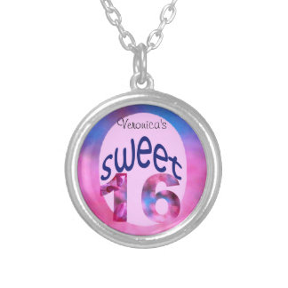 Pink Redbud Blossoms Custom Sweet 16 Silver Plated Necklace