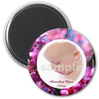 Pink Redbud Blossoms in Bloom Baby Girl Photo 6 Cm Round Magnet