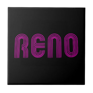 Pink Reno Sign Small Square Tile
