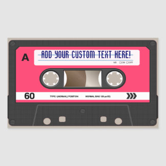 Pink Retro 80s Cassette Tape Personalized Sticker