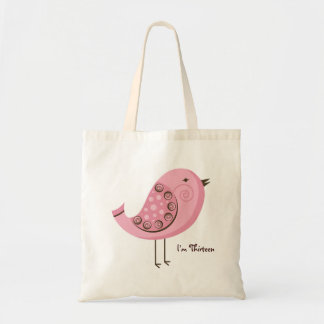 Pink Retro Bird Birthday & Age Tote Bag