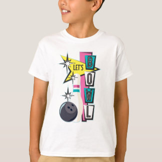 Pink Retro Bowling Design T-Shirt