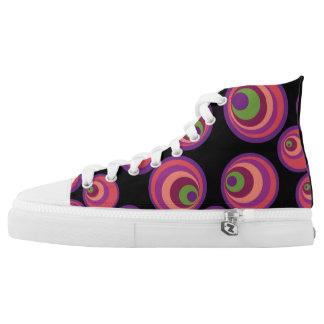 Pink retro circle Custom Zipz High Top Shoes Printed Shoes
