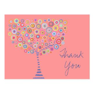 Pink Retro Circle Tree Thank You Baptism Postcard