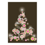 Pink Retro Circles Christmas Tree Mini Invitation Pack Of Chubby Business Cards