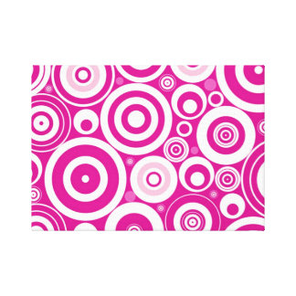 Pink Retro Circles Pattern Canvas Print