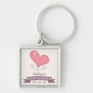 Pink Retro Doodle Heart Baby Shower Keychains