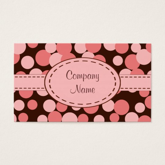 Pink Retro Dots Business Card