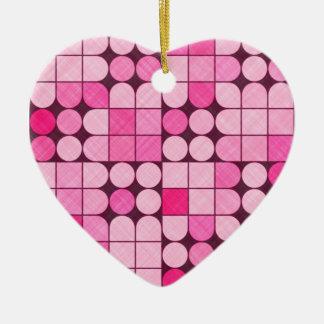 Pink Retro Fabric Design Ceramic Heart Decoration