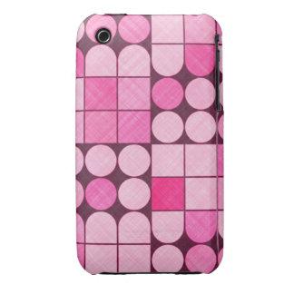 Pink Retro Fabric Design iPhone 3 Cases