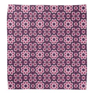 Pink Retro Floral Pattern on Purple Bandana