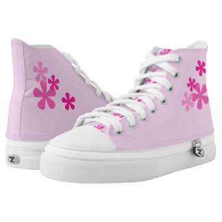 Pink Retro Flowers Hi Top Printed Shoes