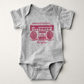 Pink Retro Ghettoblaster Illustration Baby Bodysuit