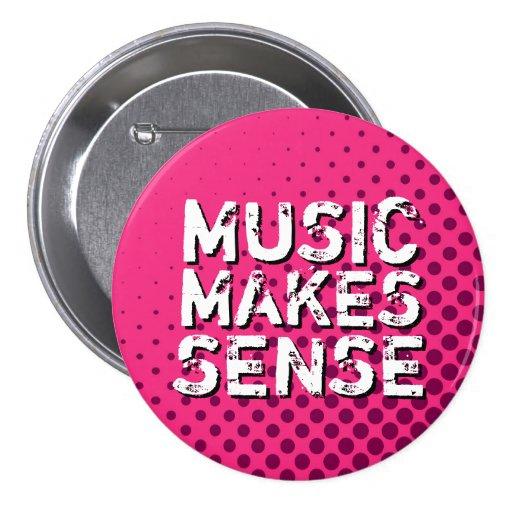 Pink Retro Halftone I Love Music Button