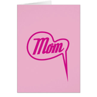 pink retro mom speech bubble stamp greeting card