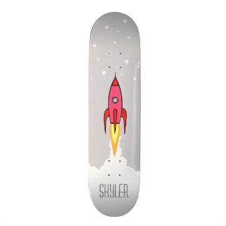Pink Retro Rocket Ship Stars Personalized Monogram Skate Board