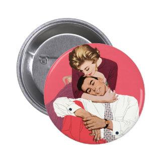 Pink Retro Romance, Vintage Romantic Love 6 Cm Round Badge