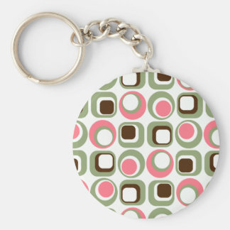 Pink Retro Squares Circles Keychain