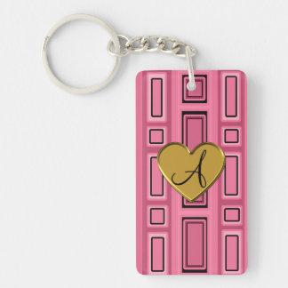 Pink retro squares monogram Double-Sided rectangular acrylic key ring
