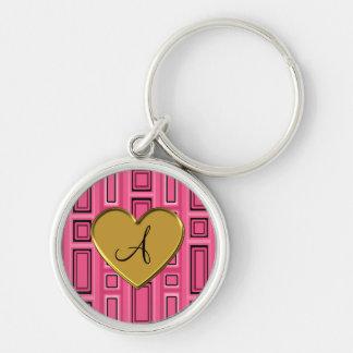 Pink retro squares monogram keychain